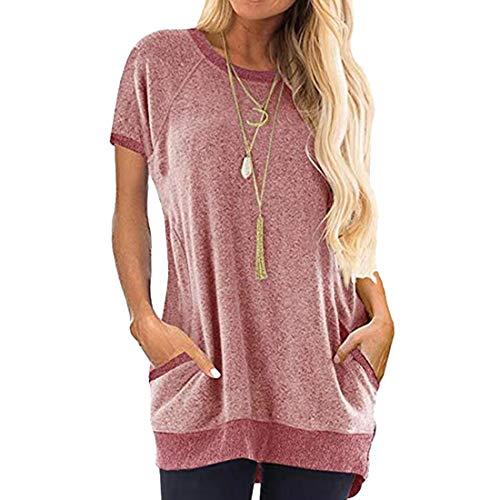 Tops Casuales de Verano para Mujer Tops Sueltos Tops-Material Suave-Muy cómodo de Llevar Tops de Verano Casual Cuello Redondo y Bolsillos Camisetas de Mujer para Mujer Cuello Redondo Mangas Cortas