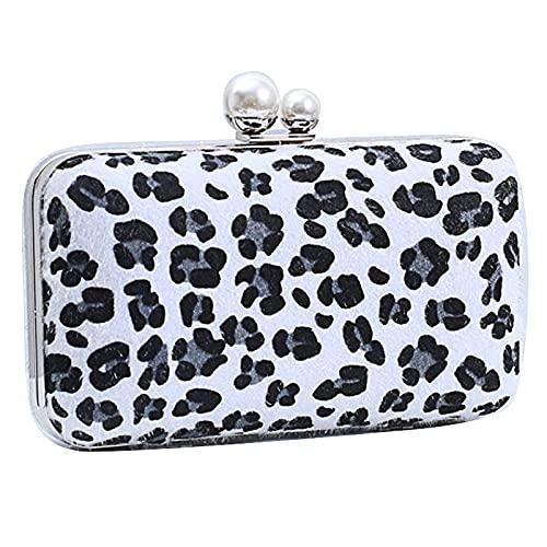 QIANJINGCQ Bolso de cena de todo fósforo, bolso con estampado de leopardo, temperamento de moda, bolso de mano femenino, diseño simple e individual, mochila pequeña de bolso cuadrado