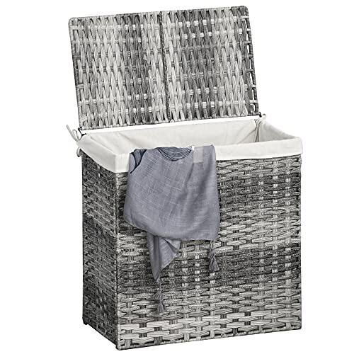 Outsunny Polyrattan Wäschekorb Wäschebox Wäschesammler mit Deckel Wäschesack Griffe faltbar Grau 57 x 34 x 60 cm
