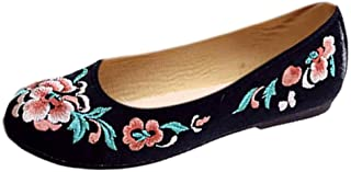 Aiweijia Ladies Floral Pattern Wear Resistant Oxford Sole Embroidered Shoes