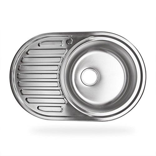 Stabilo-Sanitaer Einbauspüle aus hochwertigem Edelstahl, rundes Spülbecken mit Ablagefläche links, klassische Küchenspüle in schönen und zeitlos modernen Design