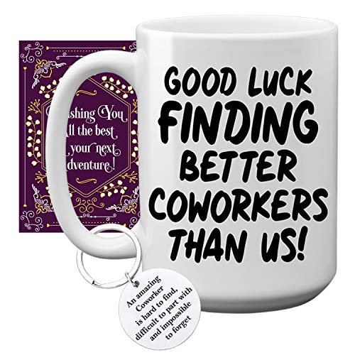 Fancabin Coworker Leaving Gifts - Large 15oz Good Luck Finding Better Coworkers Than Us Coffee Mug, Card & Keychain- Funny Farewell, New Job, Good Bye, Retirement, Going Away Gifts Cup For Men & Women