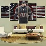 DASHUAIGE Wandkunst Leinwand Bilderrahmen 5 Stück amerikanische Flagge & Film Captain America Paintings Dekor Wohnzimmer HD Print Poster