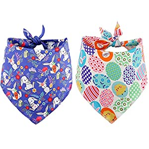 BoomBone Easter Dog Bandana 2 Pack – Triangle Bibs Pet Scarf for Small to Large Dogs and Cat