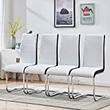 Enjowarm Dining Chairs Set of 4 White Black Sides Faux Leather Modern Mid Century Living Room Side Chairs Metal Chrome Legs High Back Dining Room Set for Home Kitchen Office Waiting Room