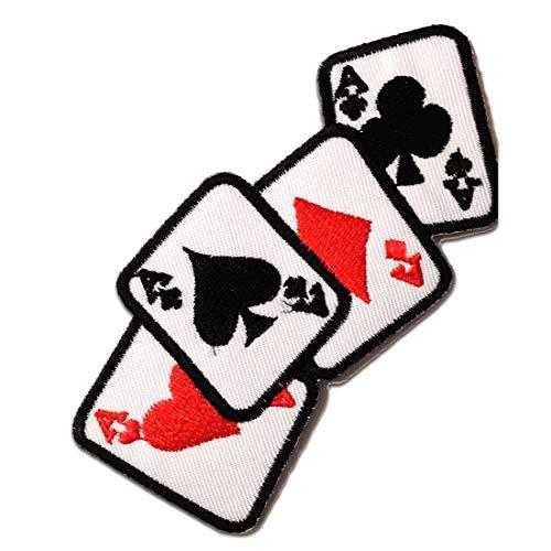 ase Poker cartas Biker - Parches termoadhesivos bordados aplique para ropa, tamaño: 11 x 5 cm