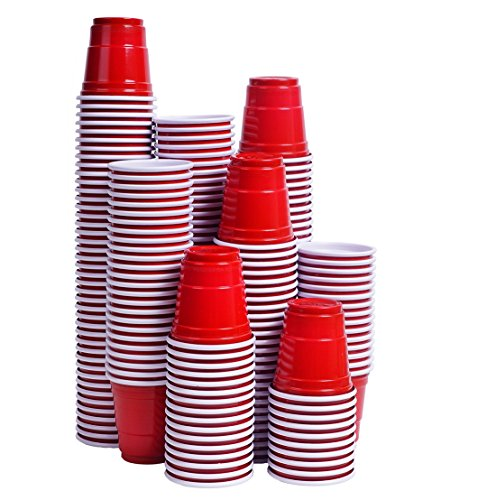 Tashibox Disposable Mini Red Shot Glasses - 2 Ounce - 200 Count - Mini Party Cups, Jager Bomb, Jello Shots, Sample Cups.