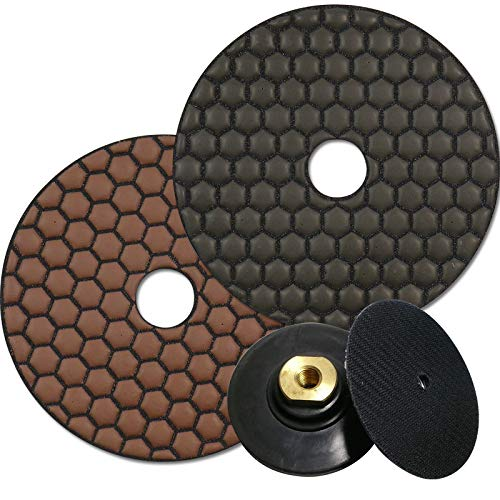 EDW DIADRY professionele slijppad-set | Afwerkingsset | D=125 mm | korrelgroottes 1500 en polijstmachine | 1 klittenband-opnamemeter M14 | slijpen en polijsten van natuursteen, marmer, graniet, glas, fasebewerking