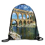Apartment Ancient Roman Heritage Wall In Southern France Architectural Historical Landmark Drawstring Bags Jogging Backpack For Teens College Drawstring Shoulder Bag Backpack String Bags