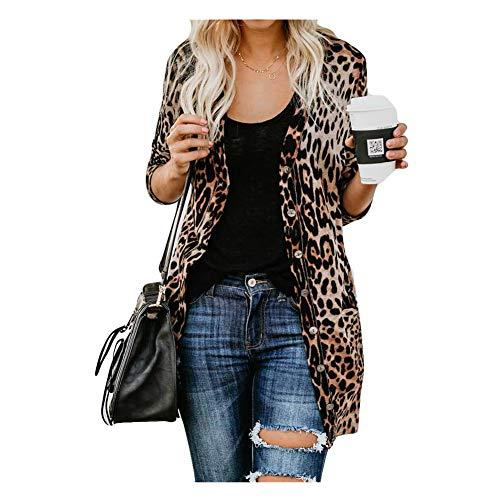 iHENGH Damen Herbst Winter Bequem Lässig Mode Frauen Langarm Leopard Print Mode Mantel Blusen T Shirt Tank Tops(2XL,Braun)