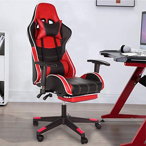 Gtracing Chair Gaming, Silla para Juegos con Respaldo Ajustable Silla de Oficina reclinable de Cuero con reposapiés Cómoda Silla para computadora Silla de Videojuegos para la Oficina en casa Restaura