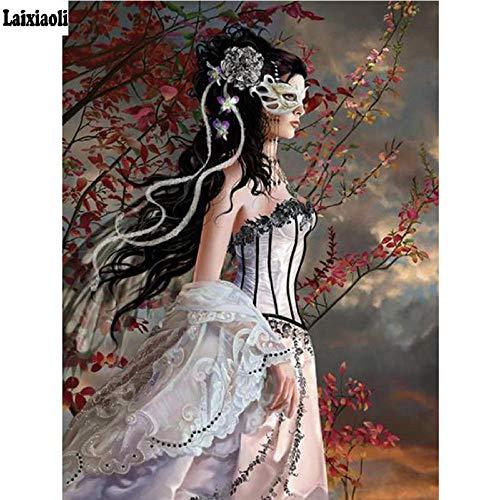 Mssdezb DIY 5D volledige diamant schilderij masker engel meisje borduurwerk dinosaurus ronde boor mozaïek kruis steek decoratie huis 40x50cm (16x20inch)