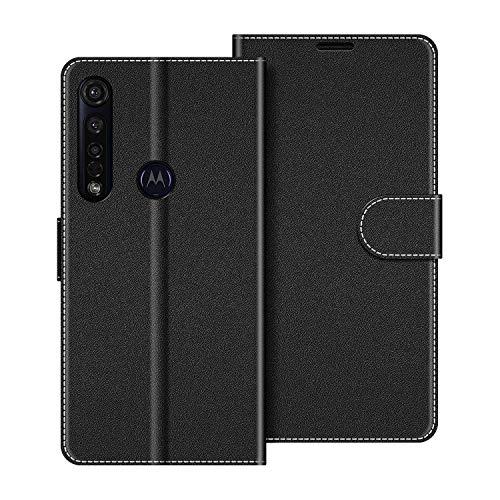 COODIO Handyhülle für Motorola Moto G8 Plus Handy Hülle, Motorola Moto G8 Plus Hülle Leder Handytasche für Motorola Moto G8 Plus Klapphülle Tasche, Schwarz