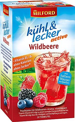 Milford kühl & lecker active Wildbeere, ohne Kalorien, ohne Zucker, laktosefrei, glutenfrei, vegan, 20 Teebeutel, 50 g