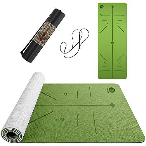 Topmat Esterilla de yoga profesional antideslizante de TPE, esterilla de ejercicio para yoga, pilates, fitness, 183 x 61 x 0,6 cm