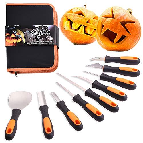 LLG Professionelles Kürbisschnitzwerkzeug für Halloween, Deco Halloween Kürbis-Schnitzset 9-teilig Jack-O-Lantern-Set aus Edelstahl für Halloween-Dekoration (Orange)