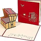 LIEBESSA® Strandkorb 3D Pop-Up-Karte zum Aufklappen - Besondere Geschenkkarte Ostsee, Nordsee, Sylt, Gutschein für Urlaub