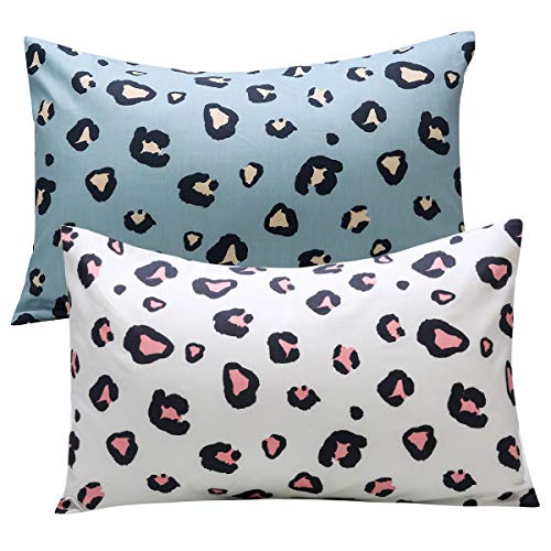 Kids Toddler Pillowcases UOMNY 2 Pack 100% Cotton Pillow Cover Pillowslip Case Fits Pillows sizesd 13 x 18' for Kids Bedding Pillow Cover Baby Pillow Cases Leopard Pink/Blue Kids' Pillowcases