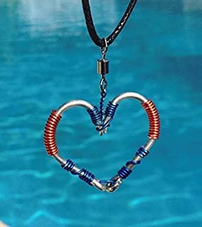 The ORIGINAL FISH HOOK HEART Necklace - Blue and Orange Wire on Silver Hooks