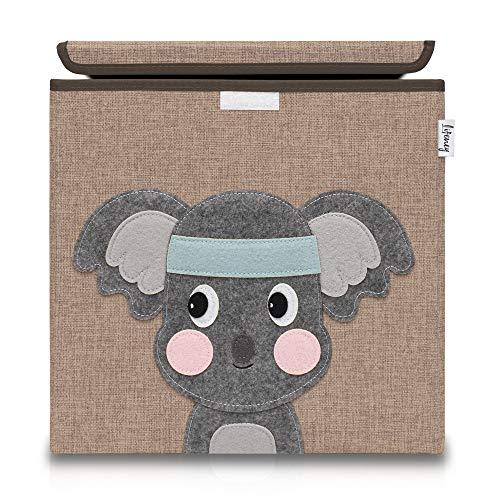 Lifeney Aufbewahrungsbox Kinder mit Deckel I Niedliche Spielzeugkiste I Aufbewahrungsboxen für Kinderzimmer I Faltbox für Spielzeugaufbewahrung I Aufbewahrungskorb Kinder (Braun Koala)