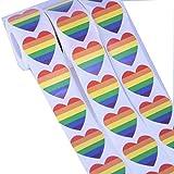 Egurs 500 Stück LGBT Sticker Gay Pride Rainbow Sticker Herzform Regenbogen Flagge Aufkleber Herzform Rolle Klebeband 500pcs