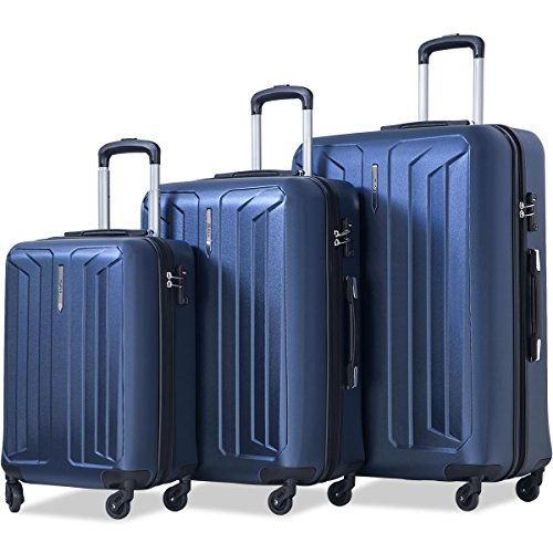 Flieks Luggage 3 Piece Sets Spinner Suitcase with TSA Lock, Lightweight 20 24 28 in (Deep Blue)
