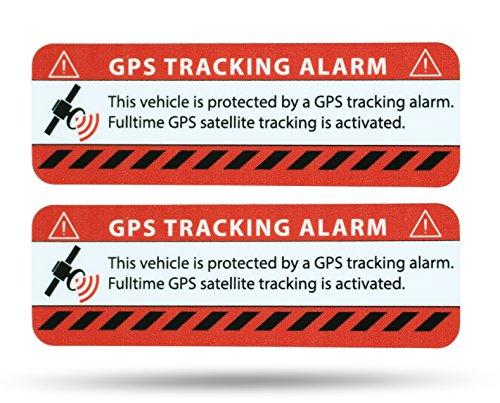 SECYOURITY - GPS Alarm Aufkleber PKW - Warnaufkleber für Auto & LKW (rot, 2)