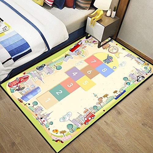 Meinianda Alfombra niños Dibujos Animados Verde Claro rayuela números niña niño Dormitorio Sala de Estar Suave y cómodo tapete de Juego 200 * 300 cm