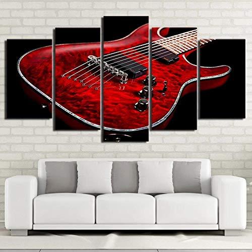 5 Piezas Lienzo Pintura Música Guitarra eléctrica roja Decoración Hogar HD Póster regalo creativo para Oficina Aniversario Pinturas artísticas 150x80cm Con marco