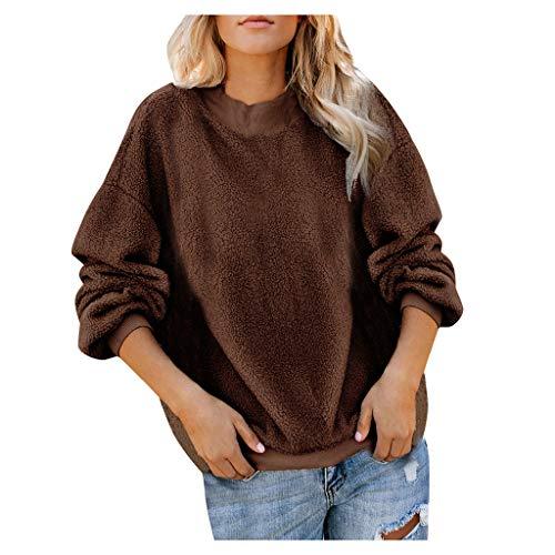 SHE.White Pullover Damen Herbst Winter Teddy-Fleece Einfarbig Sweatshirt Blusen Casual Rundhals Langarmshirts Warm Pulli Oberteile Outwear