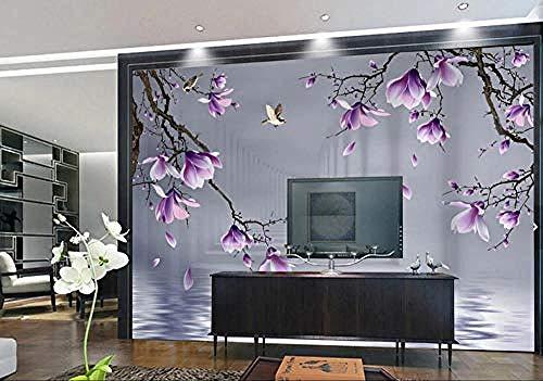 Tapete 3D Fototapeten Lila Magnolie Blume Schmetterling Vogel Wasser Reflexion Wohnzimmer Schlafzimmer TV Hintergrund Wanddekoration Bild Poster Foto-400×280cm(BxH)