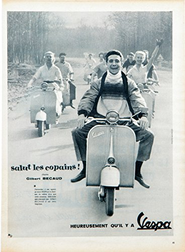 Historic Pictoric Vespa Gilbert Becaud Motorbike 1957-24in x 18in Vintage French Poster Print