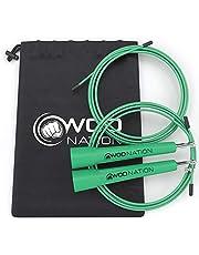 WOD Nation - High-speed springtouw voor duurtraining zoals crossfit, boksen, MMA, vechtsport of gewoon om fit te blijven; volledig verstelbaar voor mannen, vrouwen en kinderen; kleur: groen