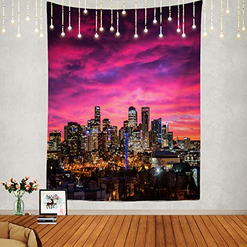 Shrahala Sunrise Tapestry, Denver Skyline Wall Hanging Large Tapestry Psychedelic Tapestry Decorations Bedroom Living Room Dorm(82.7 x 59.1 Inches, Pink)