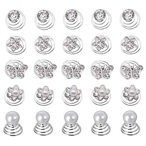 60 Stück Haarspiralen Hochzeit Haar,Curlies Perlen Strass Haarschmuck Braut Blumen Kristall Haarspinnen für DIY Braut Haarschmuck
