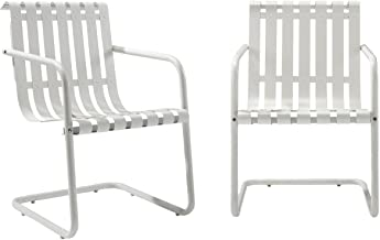 Crosley Furniture Gracie Retro Metal Outdoor Spring Chair - Alabaster White (Set of 2)