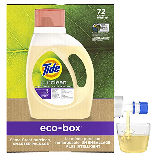 Tide Purclean Plant-Based Liquid Laundry Detergent eco-Box, HE Compatible, 105 fl oz, 72 Loads