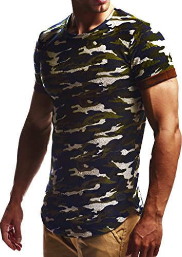 Leif Nelson Herren Sommer T-Shirt Rundhals-Ausschnitt Slim Fit Baumwolle-Anteil Moderner Männer T-Shirt Crew Neck Hoodie-Sweatshirt Kurzarm lang LN6324 Camouflage L