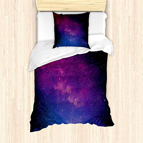 ABAKUHAUS Galaxia Funda Nórdica, Stardust Arco Iris del Espacio, Decorativo, 2 Piezas con 1 Funda de Almohada, 135 x 200 cm, Negro Azul Rosa