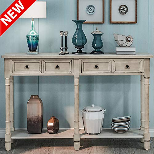 """DANGRUUT Upgrade Version Exquisite Entryway Console Table, Best 58"""" Hallway Sofa Table, Side Storage Cabinet with 2 Big Drawers and Bottom Shelf, Retro Wood Living Room Furniture (Grey Wash)"""