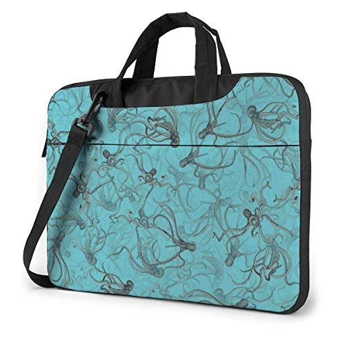 Black Octopus Adults Student 15.6 in Laptop Bag Anti-Collision Notebook Computer Protective Cover Handbag Shoulder Bag