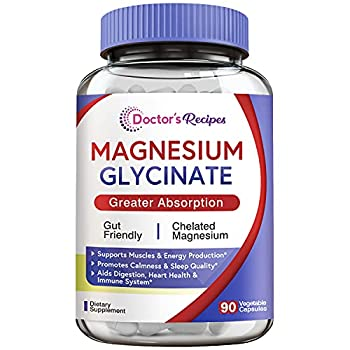 Doctor's Recipes Magnesium Glycinate 500mg for Men & Women 90 Caps Amino Acid Chelated High Absorption Easy on Stomach Calm Bone Muscle Heart Energy Nerve Sleep Cramp Defense No Gluten