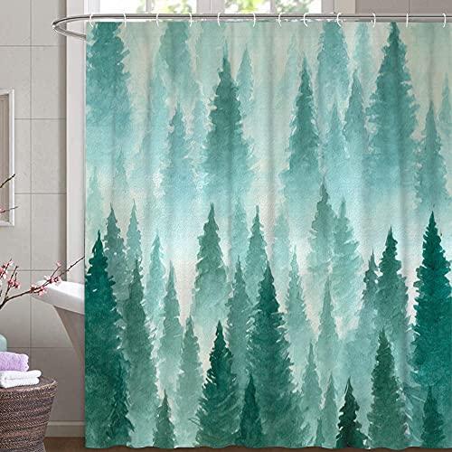 MundW DAS DESIGN Duschvorhang Wald im Nebel Baum Textil mystisch grün blaugrün Natur Ruhe Bergen Landschaft Vorhang Schimmelresistent Farbfest inkl. 12 C-Ringe Gewicht unten 180x200cm(BxH)