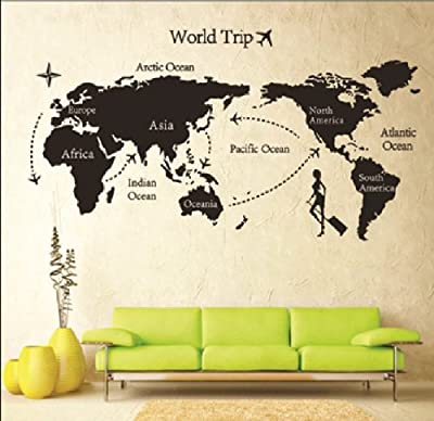 Ferris Store Traving World Map Wall Decal PVC Art Sticker Removable Home Decor Black 31.5x55.1