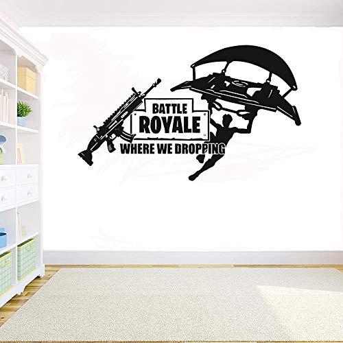 Creative Survival Competitive Gun Shot Fortress Spiel Fallschirmjäger zitiert Junge Spielzimmer Schlafzimmer Dekoration Vinyl Aufkleber Kinderzimmer Wandkunst Wandbild Poster