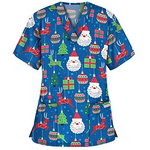Auifor Damen Weihnachten T-Shirt, Thanksgiving Nurse Tshirt Weihnachtsmotiv Krankenschwester Oberteil, Krankenpfleger T-Shirts V-Ausschnitt Kurzarmshirt Krankenhauskleidung(Blau,Small)