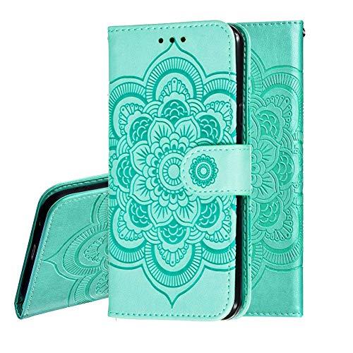 IMEIKONST Samsung J2 PRO 2018 Custodia Embossed Premium Phone Cover a Libro in Pelle PU Flip Portafoglio Holder Protettiva Magnetic Stand Caso per Samsung Galaxy J2 PRO 2018 Mandala Green LD