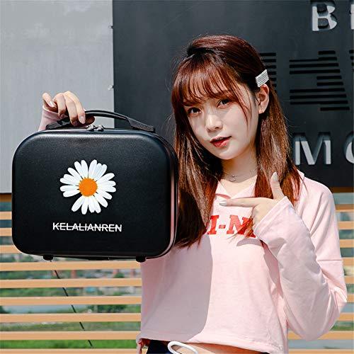 Daisy 14-Inch Cartoon Suitcase Women's Small Lightweight Cute Storage Bag Travel Bag Mini Suitcase Portable Cosmetic Case,black1