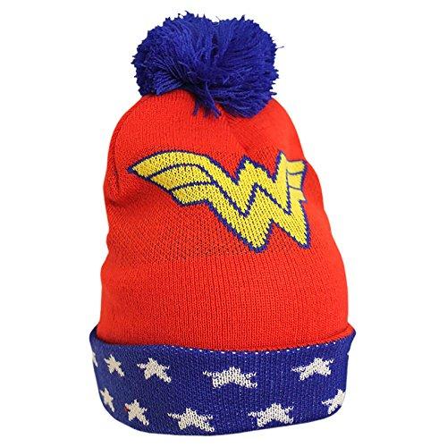 Bonnet à pompon Wonder Woman DC Comics rouge bleu