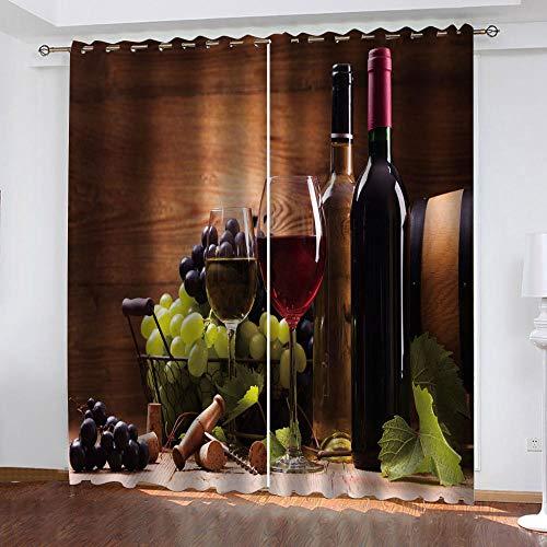 BWBJJ Cortinas Opacas 3D Botella de Vino de Cesta de Frutas Poliéster Cortina con Aislamiento térmico El Ahorro de energía Reduce el ruído Adecuado para Dormitorio Sala de Estar 70x260 cm x 2 Panel